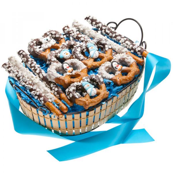 Canasta de regalo de pretzel de invierno