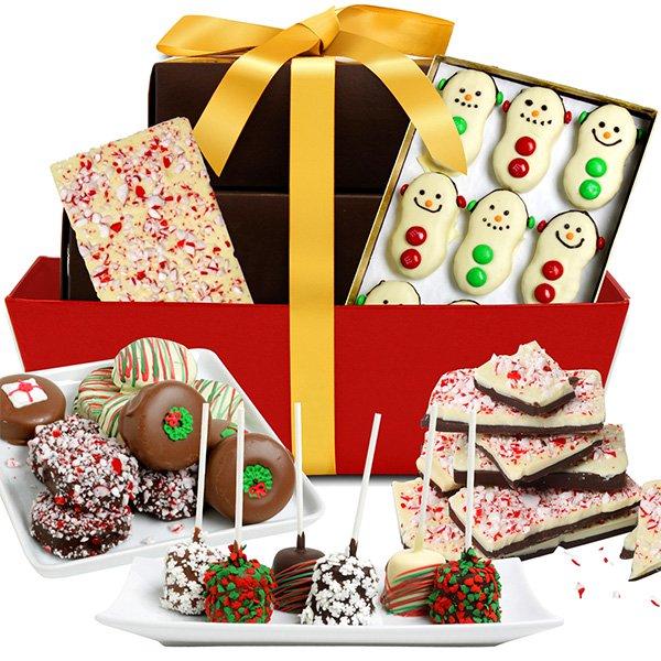 Torre de regalos cubiertos de chocolate belga