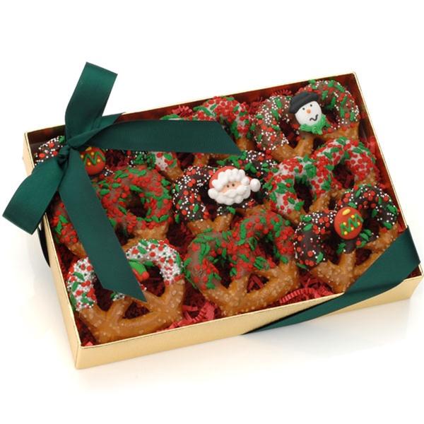 Navidad pretzels de chocolate