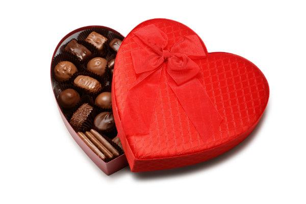 Caja de chocolate en forma de corazón