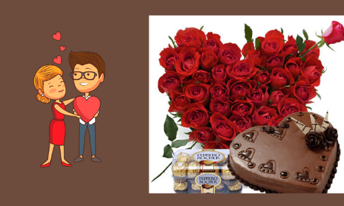 chocolate with heartshape cake