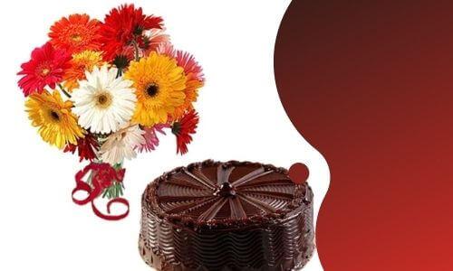 gerbera flowers with chocolate cake