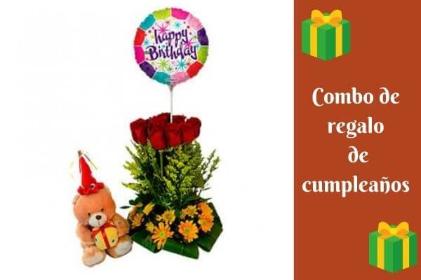 birthday gift combo flower bouquet balloons and teddy