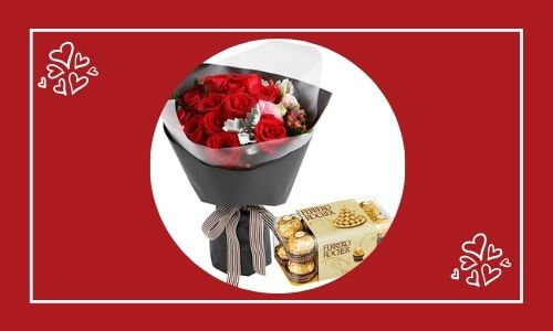 chocolate box and red roses bouquet