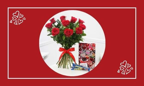 flower bouquet with love note