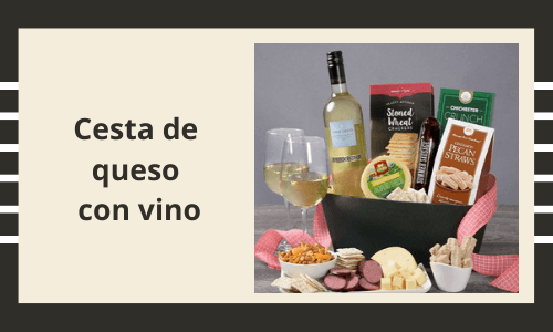 Cesta de queso con vino de San Valentín