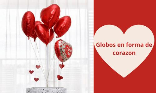 globos románticos en forma de corazón