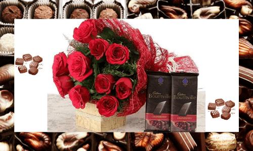 Combinación de flores y chocolate