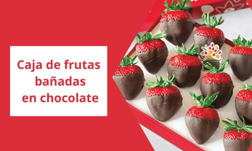 Caja de frutas bañadas en chocolate