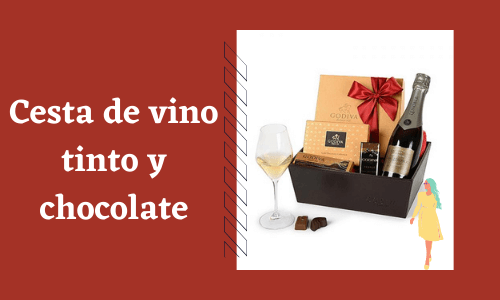 Cesta de chocolate y vino tinto