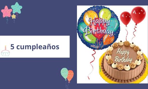 Globos de cumpleaños con tarta